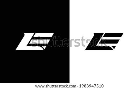 Creative Minimal Alphabet Letter LE Logo Monogram Photo stock ©