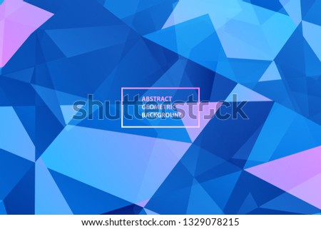 Creative minimal geometric shape with purple, blue and pink polygon shapes. Dynamic shapes composition and elements.Crystal Modern design in Eps10 vector illustration.