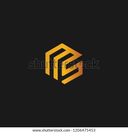 creative minimal MS logo icon design in vector format with letter M S