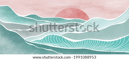 Creative minimalist modern paint and line art print. Abstract ocean wave and mountain contemporary aesthetic backgrounds landscapes. with sea, skyline, wave. vector illustrations