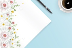 Creative Mock up scene Vector illustration with blank paper, pen, coffee cup and flowers decorated on worktable