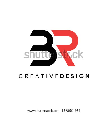 Creative modern abstract initial BR logo design vector with black red color Stock fotó ©