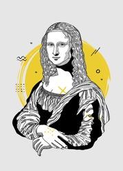 Creative modern painting. T-Shirt Design & Printing, clothes, bags, posters, invitations, cards, leaflets etc. Vector illustration hand drawn. Mona Lisa - Gioconda by Leonardo da Vinci