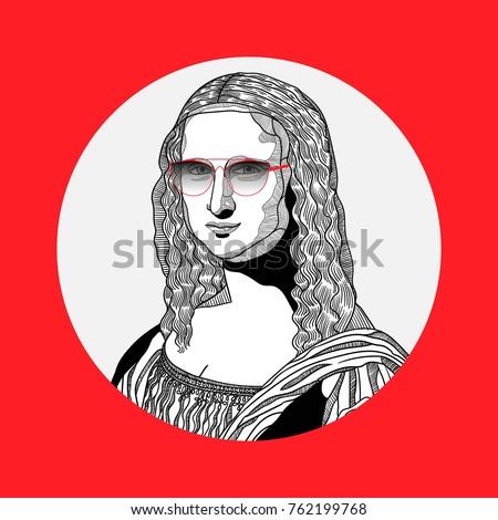Creative modern painting. T-Shirt Design & Printing, clothes, bags, posters, invitations, cards, leaflets etc. Vector illustration hand drawn. Mona Lisa - Gioconda by Leonardo da Vinci. Hipster