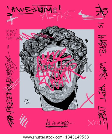 Creative modern pink calligraphy poster. David sculpture. T-Shirt Design & Printing, clothes, bags, posters, invitations, cards, leaflets etc. Vector illustration hand drawn.