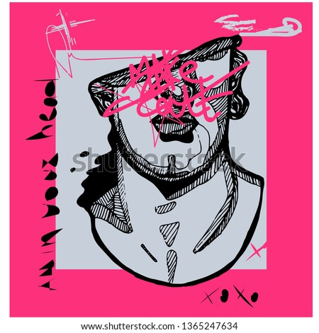 Creative modern pink calligraphy poster. Greek youth sculpture. T-Shirt Design & Printing, clothes, bags, posters, invitations, cards, leaflets etc. Vector illustration hand drawn.