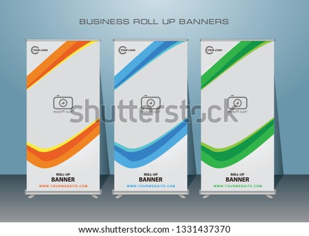 Creative Modern Roll Up Banner.Vector template design,for advertising