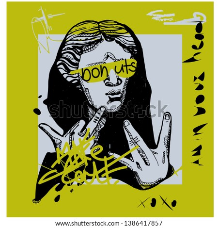 Creative modern yellow calligraphy poster. Greek youth sculpture. T-Shirt Design & Printing, clothes, bags, posters, invitations, cards, leaflets etc. Vector illustration hand drawn.