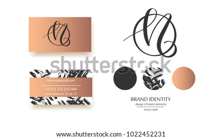 Creative monogram - hand drawn calligraphy sign. Can be used as a logo. It at the same time can mean N and M letter. Vector illustration.