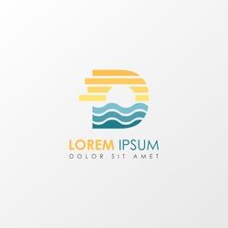Creative monogram Letter d Sunset Logo Design Element. Colorful Sun and Wave symbol suitable for beach travel logo company.