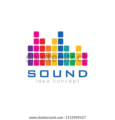 Creative Music, Sound Wave Concept Logo Design Template