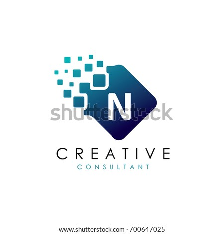 creative n data logo  n letter