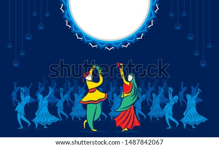 creative Navratri Graba mahotsav poster design, Indian couple playing Garba