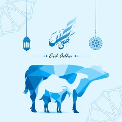 Creative Negative space Cow,Camel and Goat made by colorful abstract origami polygonal low-polydesign shapes with Arabic Islamic Calligraphy text of Eid Al Adha Mubarak for the celebration of muslim.