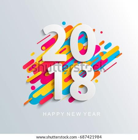 Creative new year 2018 design card on modern backgroun. Vector illustration.