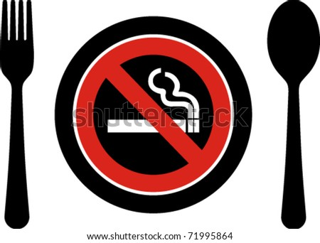 Creative  no smoking while dining sign in vector