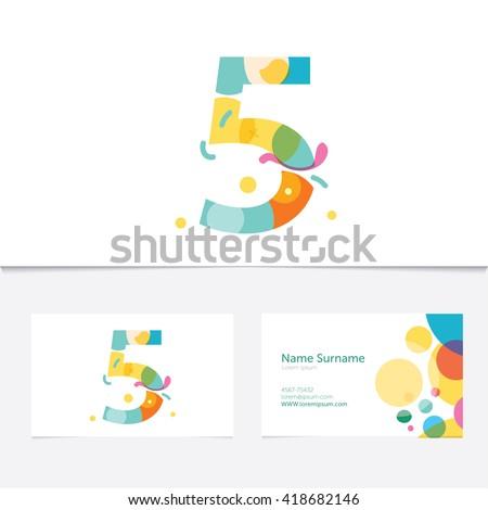 creative number 5 design vector