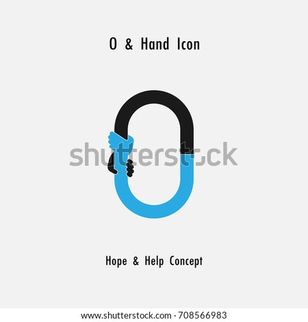 Creative O- alphabet icon abstract and hands icon design vector template.Business offer,partnership,hope,support or help concept.Corporate business and industrial logotype symbol.Vector illustration