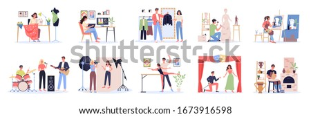 Creative occupation set. Designer and artist at work, dancer and musician. Collection of hobby and modern profession. Isolated vector illustration in cartoon style
