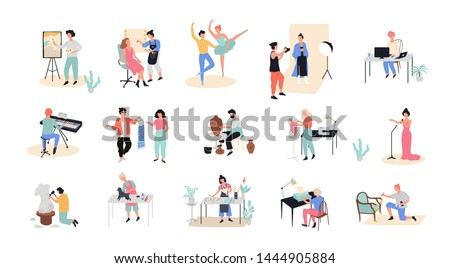 Creative occupation set. Photographer and artist at work, writer and composer. Collection of hobby and profession. Isolated vector illustration in cartoon style
