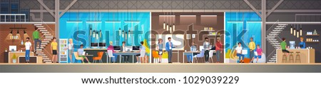 Creative Office Co-working Center. Shared working environment. University Campus. People talking and working at the computers in the open space office. Modern Workplace. Flat Vector Illustration