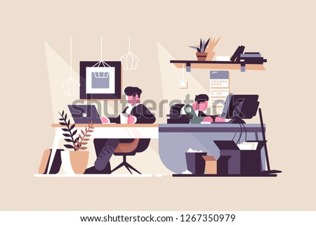 Creative office co-working center vector illustration. People working at the computers in the open space office flat style design. Work position interior. Modern workplace concept
