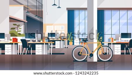 creative office coworking center room interior modern workplace desk horizontal flat