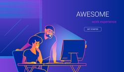 Creative office man showing new website to woman at work desk. Gradient line vector illustration of people with pc. Project presentation to colleague, business brainstorming, teamwork and team skills