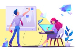 Creative office work or coworking occupation. Young man writing on chart board with sticky notes, woman designer, artist painter sitting at desk drawing on graphic tablet. Cartoon vector illustration