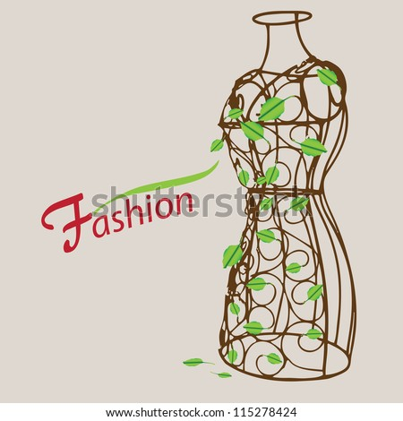 Creative on fashion. Vintage mannequin with leaves. Vector illustration.