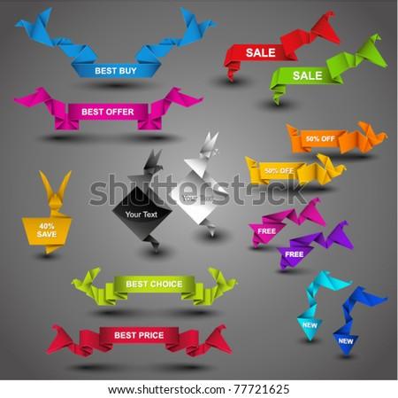 Creative Origami Web Collection. Vector Illustration.
