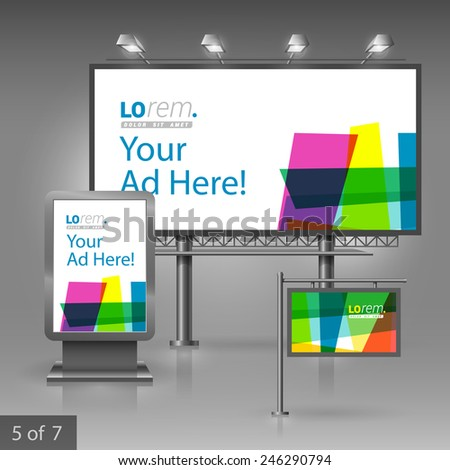 Creative outdoor advertising design for corporate identity with color art elements. Stationery set
