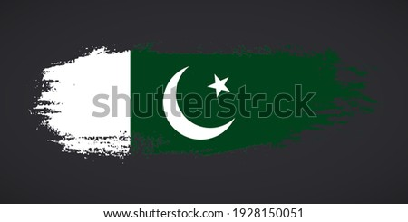 Creative Pakistan country grungy brush flag for independence day