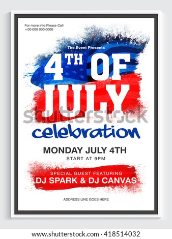 Creative Pamphlet, Banner or Flyer design for 4th of July, American Independence Day Party celebration.