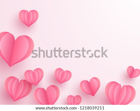 Creative paper cut heart decorated glossy pink background with space for your text. #1218039211
