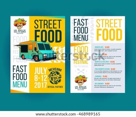 Creative party invitation on Food truck festival. Fast food brochure template. Vector food menu flyer. Street food festival menu