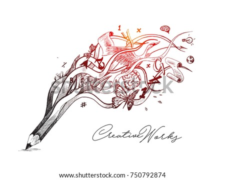Creative pencil design illustration concept for creative process - Hand Drawn Sketch Vector illustration.