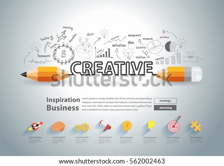 Creative pencil design with drawing charts graphs business success strategy plan, Vector illustration modern layout template design