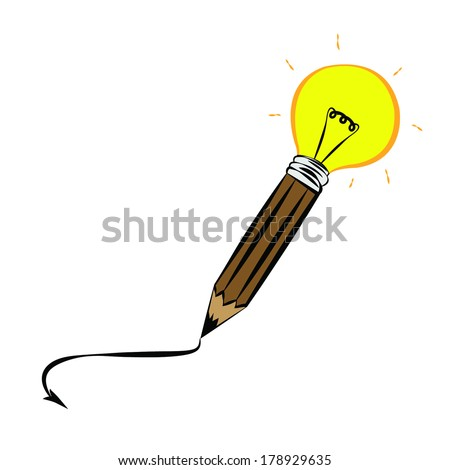 Creative pencil  light bulb Idea concept background design for poste