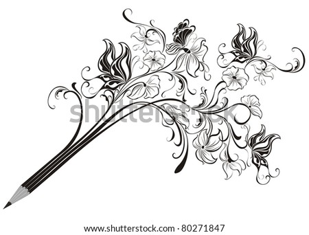 creative pencil whit floral ornate and butterfly art concept vector illustration