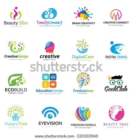 Creative People and Education Logo Set