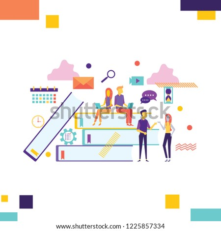 Creative people collection. Group of casual young male female working table icon connections. Vector illustration concepts for business workflow and success, project management, team building. #1225857334