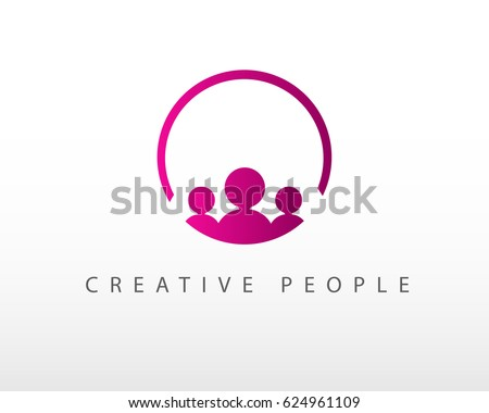 Creative people logo design template with circle
