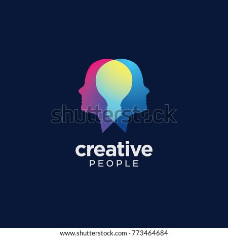 Creative People logo with light bulb overlapping inside heads