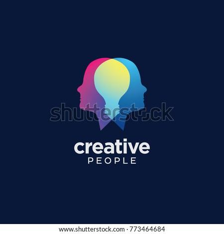 creative people logo with light