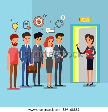 Creative people stand in line to the boss. Flat design, vector illustration