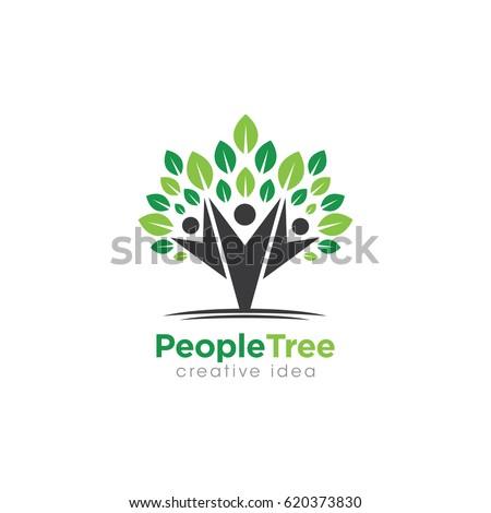 Creative People Tree Concept Logo Design Template