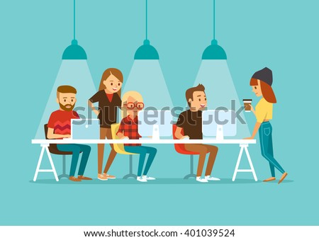 creative people working in co working office