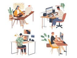 Creative people working in their workplaces passionate about work