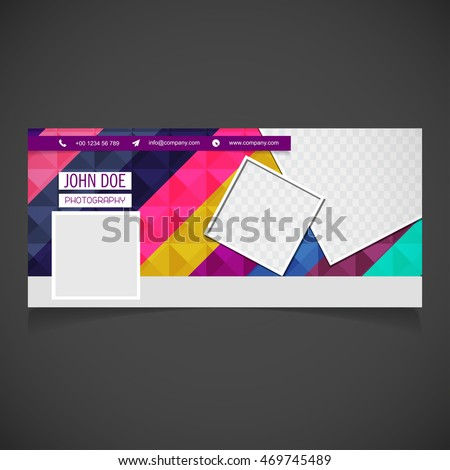 Creative Photography banner template. place for image. Photography Facebook Cover. Vector illustration